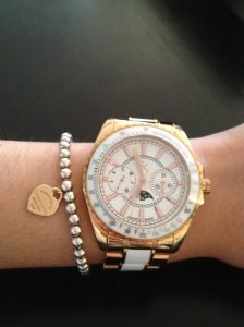 Guess Collection watch with a Tiffany & Co bracelet.